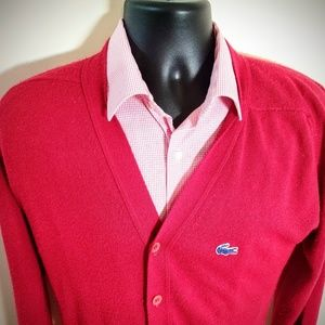 Vtg 80s izod Lacoste red cardigan sweater M